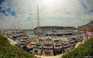Фотография Монако Яхта Небо Причалы Облачно Monaco Yacht Show 2013 город