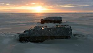 Фотография Нидерланды Рассветы и закаты Пустыни Боевая техника Снег Vlieland Friesland Армия