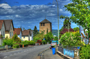 Картинки Германия Здания Дороги Улица Облака HDRI Wetzlar Города