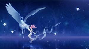 Фото Пегас Единороги Sailor Moon Сверхъестественные существа Девочка Ночные Крылья bishoujo senshi, chibi usa, pegasus Животные Дети