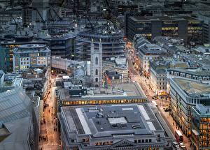 Фотографии Великобритания Здания Лондон Улица Сверху Города
