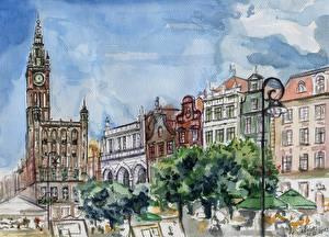 Картинки Живопись Здания Рисованные Лондон Биг-Бен город