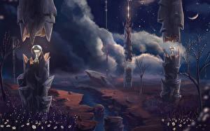 Обои Реки Облачно Ночь Лампа Лампочка Фэнтези