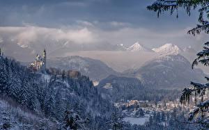 Фотография Германия Замок Зимние Горы Леса Нойшванштайн Бавария Природа Города