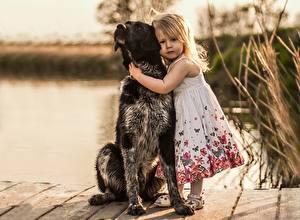 Фотографии Собаки Девочка Платье Животные Дети