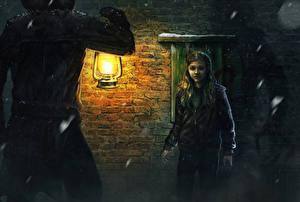 Фотография Рисованные Chloe Grace Moretz Керосиновая лампа Лампа Девочки Ночь Дети Знаменитости