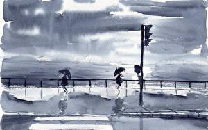 Фото Картина Рисованные Море Улица Зонт Природа