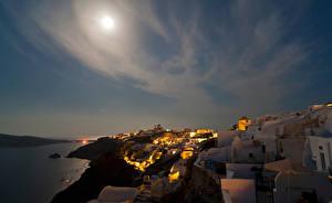 Фотографии Греция Небо Дома Тира В ночи Уличные фонари Луна город