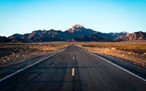 Обои для рабочего стола Дороги Небо Гора Асфальта Death Valley Природа