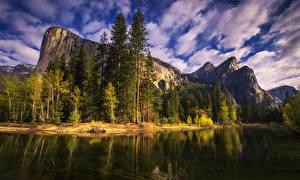 Фотографии США Небо Леса Озеро Парки Гора Калифорнии Облака Дерево Скалы Yosemite National Park Природа