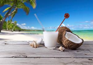 Картинки Кокосы Коктейль Напитки Крупным планом Пляж Стакане Пища