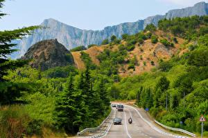 Обои Россия Горы Дороги Крым Деревья Природа