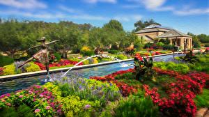 Обои Парки Скульптура Фонтаны Дома Сады Города