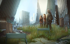 Картинка The Last of Us Мужчина Дома Рисованные Апокалипсис Траве компьютерная игра Девушки Города