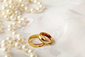 Фотография Украшения Вблизи Жемчуг Кольцо Двое Свадьба