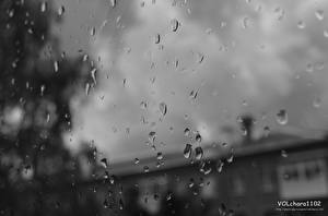 Фото Дождь Вблизи Капли Стекло
