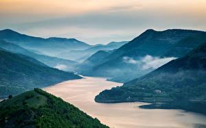 Фотография Горы Реки Болгария Пейзаж Kardzhali dam Природа
