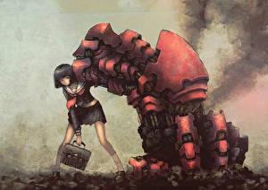 Картинки Робот Школьницы blackball Девушки