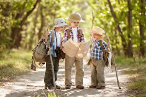 Фотографии Леса Мальчики Трое 3 Шляпа Рубашке Дети