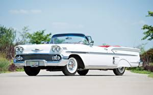Обои Ретро Chevrolet Сбоку Белый Кабриолет Bel Air Impala Convertible 1958 Автомобили фото