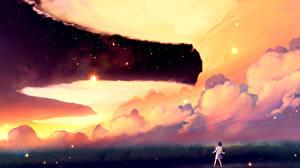 Фото Звезды Небо Облака akio-bako Аниме