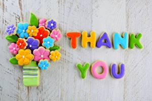 Фотографии Печенье Сладости Крупным планом thank you Еда Цветы