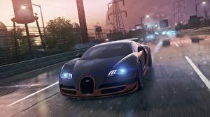 Картинки Need for Speed BUGATTI Улице Спереди Фар Черный Роскошные Most wanted 2012 Veyron Super Sport Автомобили