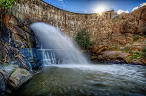 Обои Водопады HDR Лучи света Природа фото