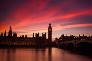 Фотографии Англия Здания Мосты Река Лондоне Биг-Бен Города