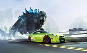Фото Ниссан Динозавр Тюнинг Желто зеленый Сбоку GTR R35 Liberty Godzilla Автомобили