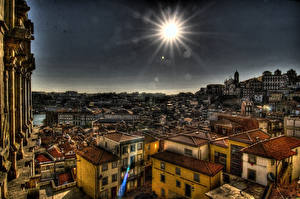 Фото Португалия Дома Портус Кале HDRI Сверху Лучи света Солнце Города