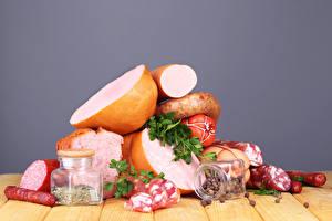 Картинка Мясные продукты Колбаса Специи Банка Еда