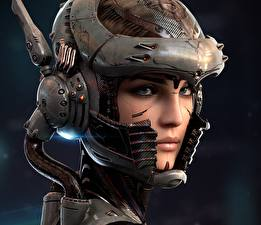 Фотографии Лицо В шлеме Взгляд Sengjoon, Cybernetic Organism Фантастика Девушки