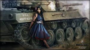 Картинки WOT Рисованные Танки Платья Nikita Bolyakov Игры Девушки