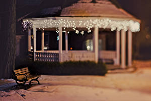 Фотография Гирлянда Скамья В ночи Города