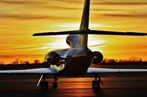 Фотографии Рассветы и закаты Самолеты Пассажирские Самолеты Dassault Falcon 900 Авиация
