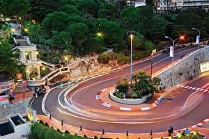 Фотографии Монако Дороги Монте-Карло Уличные фонари Города