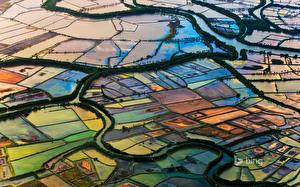 Картинка Индонезия Поля Реки Сверху Водный канал Makassar, South Sulawesi Природа