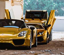Картинка Porsche Ламборгини Mercedes-Benz Золотой Спереди Фары Трое 3 918 Aventador 6x6 Авто