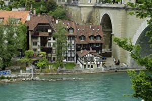Обои Швейцария Реки Здания Мосты Берн город