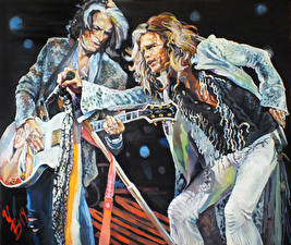 Фотография Aerosmith Рисованные Мужчины Вдвоем Гитара Steven, Joe