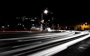 Фотография Дороги Ночь Улица Города