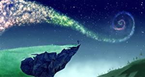 Картинки Ловля рыбы Звезды Небо Рисованные Скала Ночь Фантастика Космос