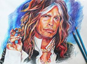 Картинки Aerosmith Рисованные Мужчины Лицо Steven Tyler