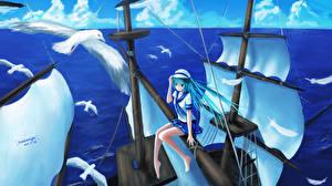 Обои Парусные Чайка Vocaloid Море Птицы Hatsune Miku Корабли sombernight Девушки Животные