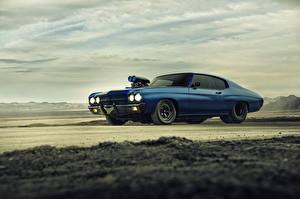 Обои Chevrolet Небо Сбоку Синий Chevelle SS 1970 Supercharger Автомобили фото