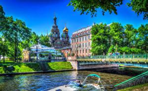 Фотография Россия Санкт-Петербург Здания Храмы Реки Мосты HDR город