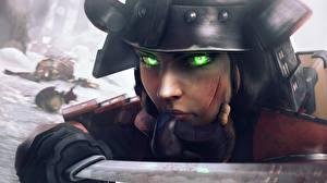 Фотографии BioShock Infinite Шлема Самурая Смотрят Elizabeth Игры Фэнтези Девушки 3D_Графика