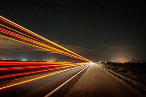 Картинки Дороги Небо Ночные Природа