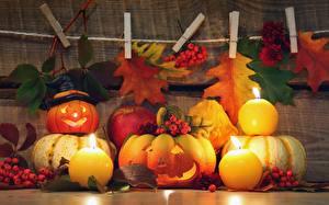 Фото Осенние Тыква Свечи Яблоки Хэллоуин Листья Еда